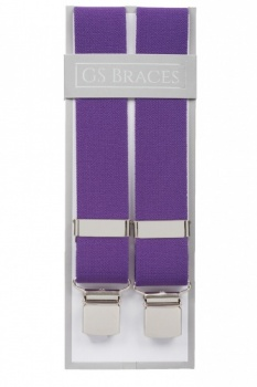 Plain Purple Trouser Braces With Large Clips